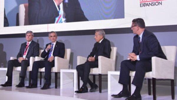 """Los participantes del panel """"Competitividad, infraestructura y comercio global"""" en el Foro Expansión (Foto: GDF )"""