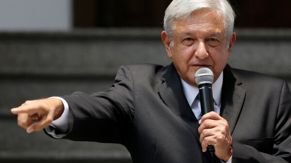 Mexico's President-elect Andres Manuel Lopez Obrador makes declarations to the media at his campaign headquarters in Mexico City