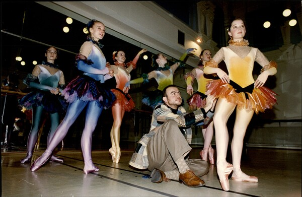 Christian Lacroix With Pupils From The English National Ballet School Wearing Costumes He Designed.