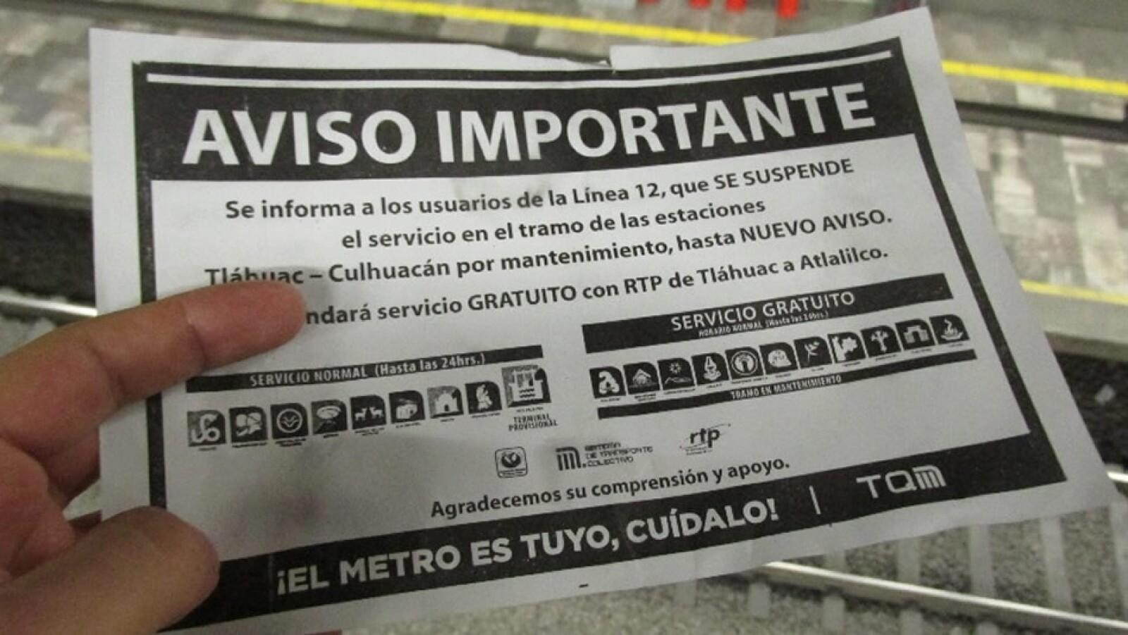 En la Línea 12 se entregaron folletos con la información