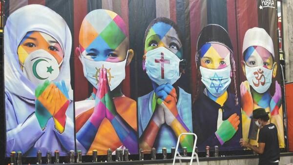 Kobra, el muralista brasileño que promueve la unidad en plena pandemia
