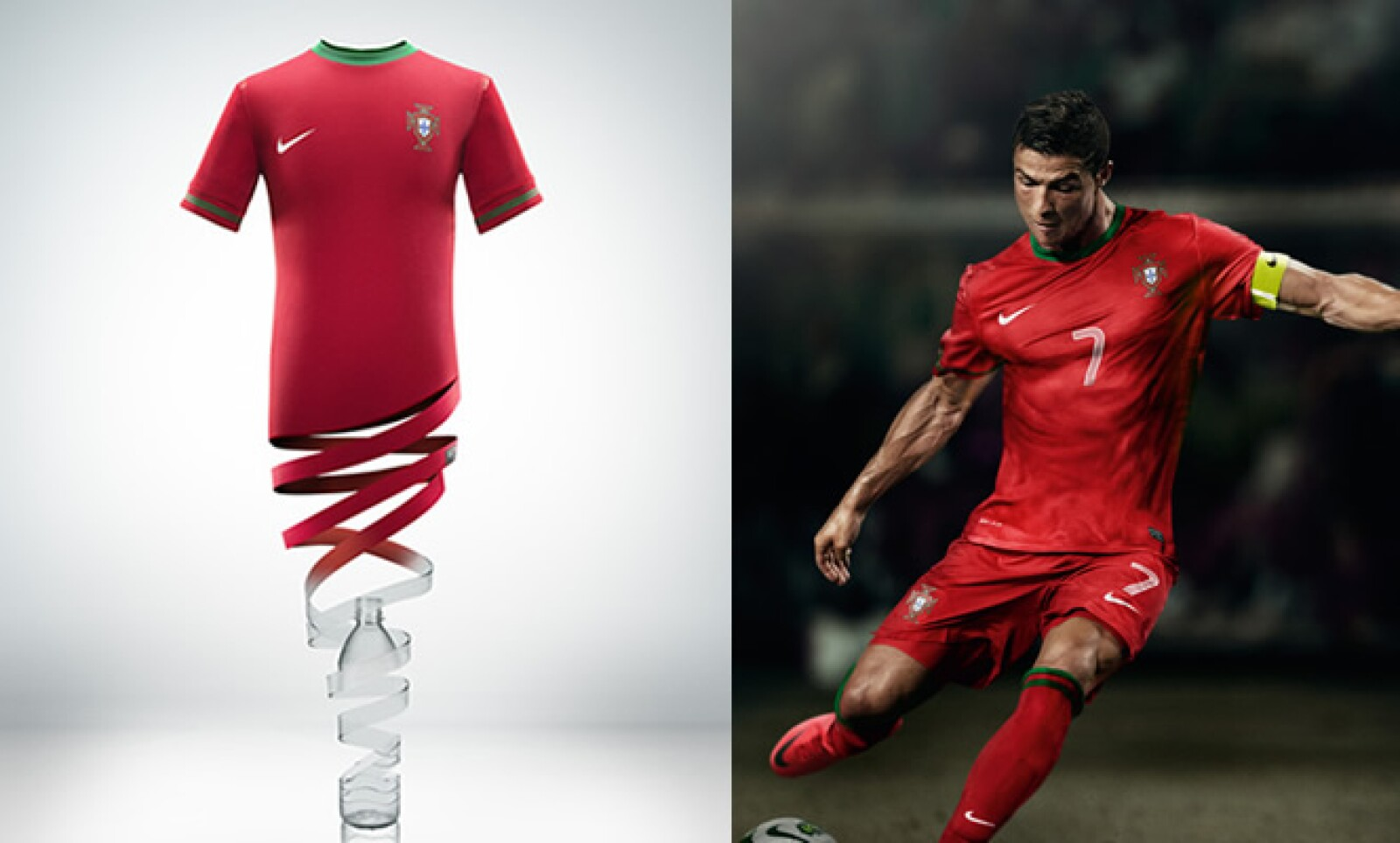 Las camiseta de juego se fabrican con un 96% de poliéster, proveniente de 13 botellas de plástico reciclado.