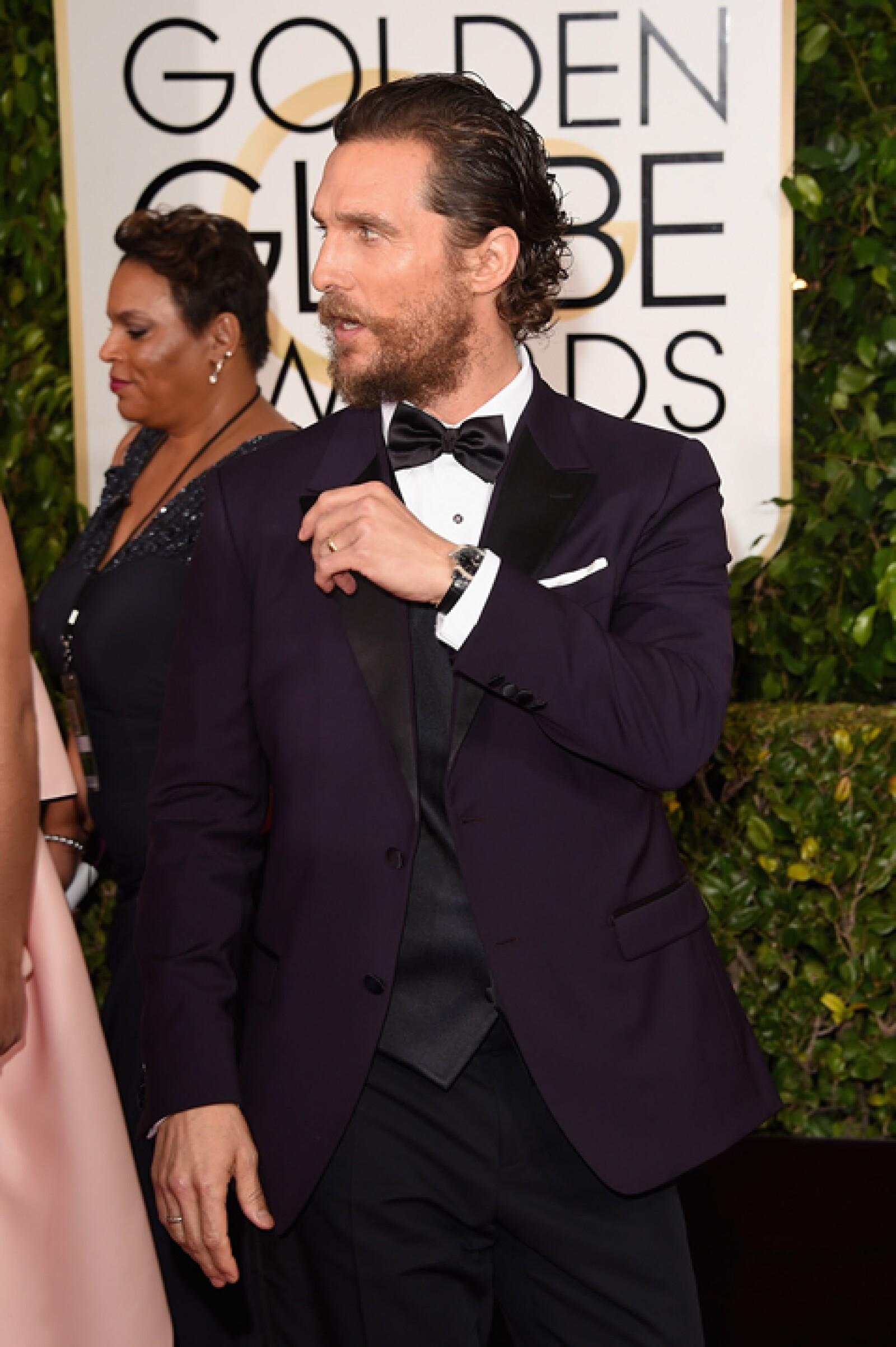 El nominado Matthew McConaughey decidió usar un reloj Bulgari Solotempo con piel negra.
