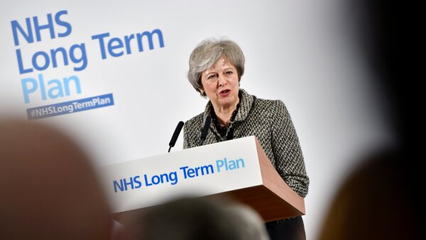 FILE PHOTO: Britain's PM May launches government's NHS Long Term Plan in Liverpool