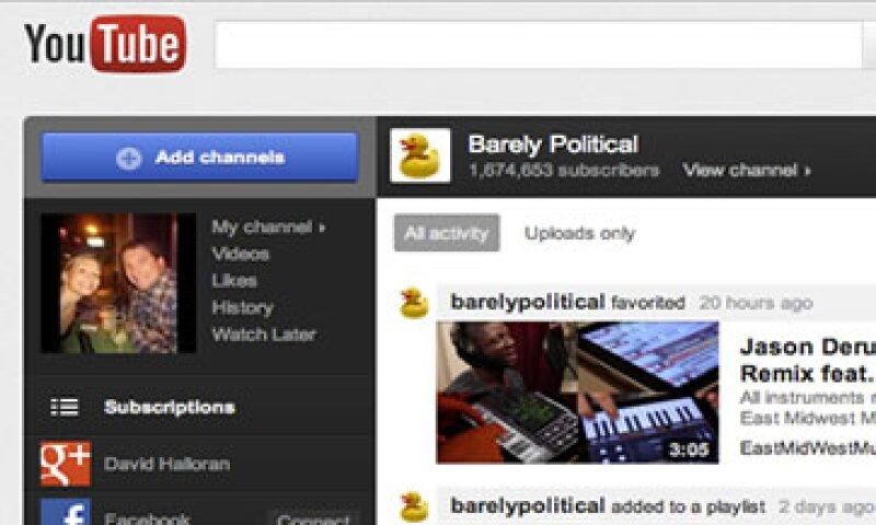 YouTube permite ver videos publicados por amigos en Facebook, red social rival de Google+. (Foto: AP)