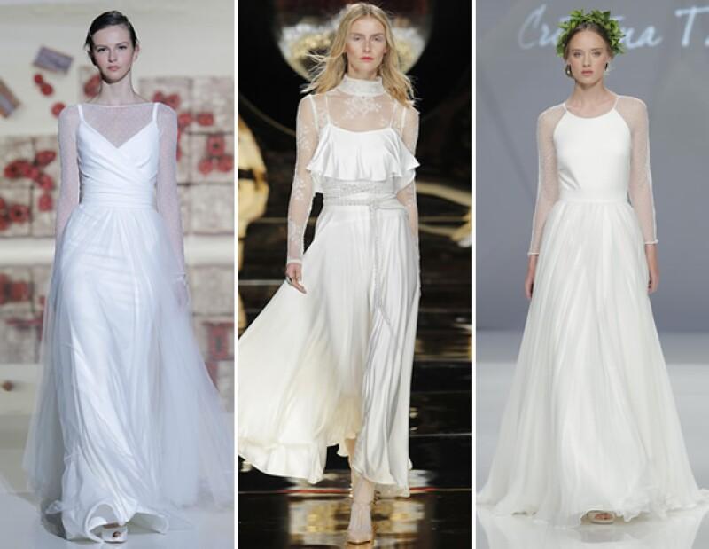 Llevar tops debajo del vestido fue la propuesta de distintas firmas como Jesús Peiró, Yolan Cris y Cristina Tamborero.