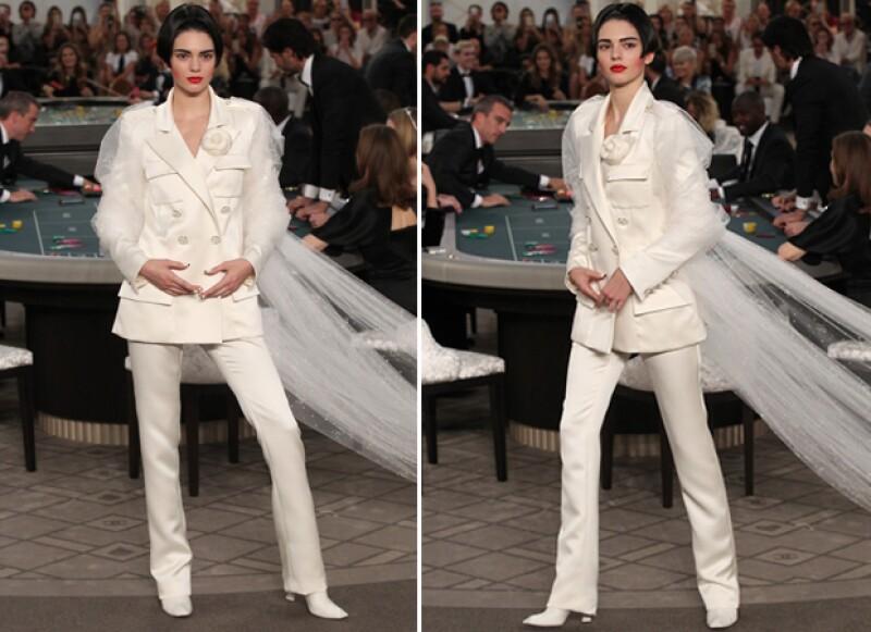 La modelo de 19 años lució un traje de novia con una cola de tul.