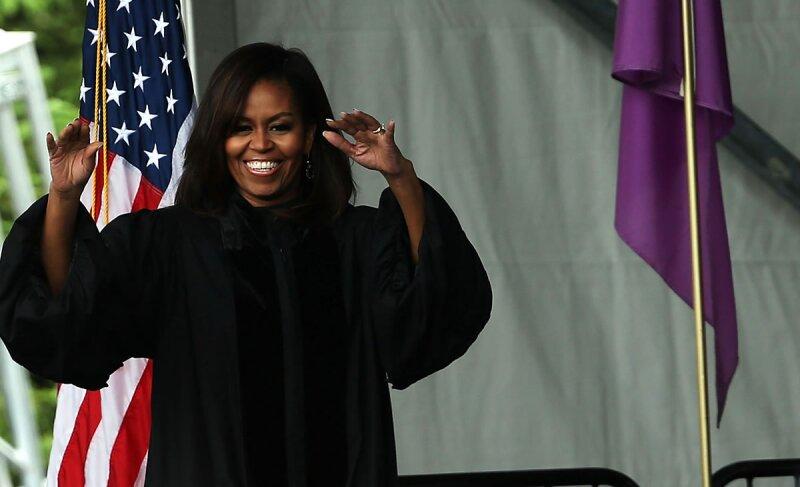 Michelle Obama en el City College de Nueva York.