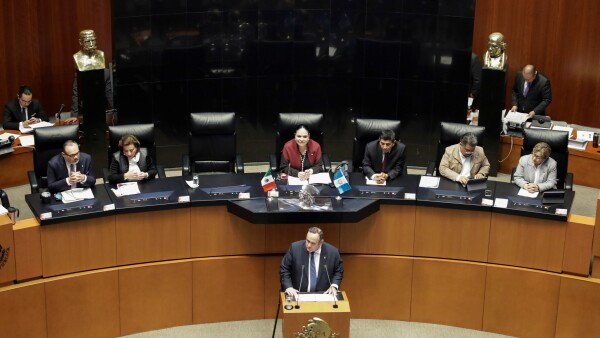 Guatemala's President Giammattei attends a session of Mexico's Senate, in Mexico City
