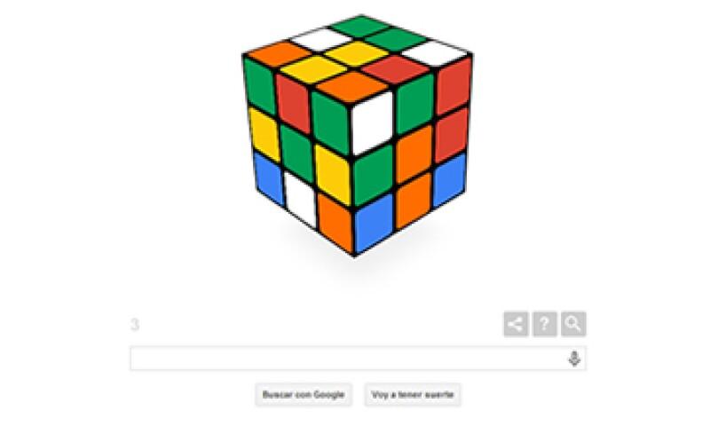 El doodle te permite probar suerte para resolver el famoso cubo Rubik. (Foto: tomada de google.com)