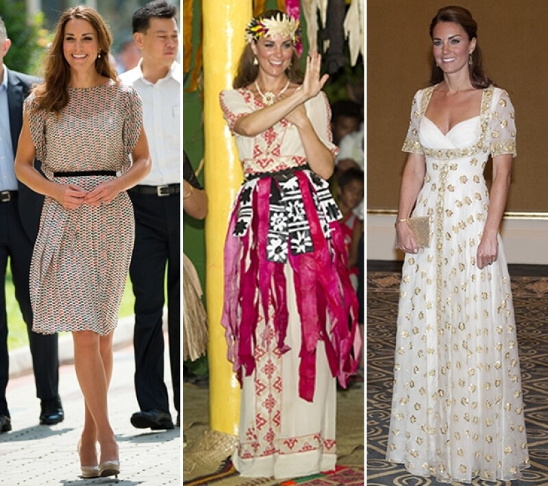 En Singapur usó un vestido de Raoul, en las islas Solomón combinó uno Alice Temperley con una falda tradicional y Alexander McQueen, su favorito, le hizo uno a la medida.