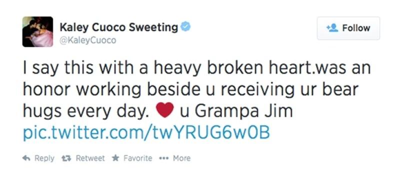 Este es el mensaje que tuiteó la actriz de series de TV, conmovida por la muerte del actor.