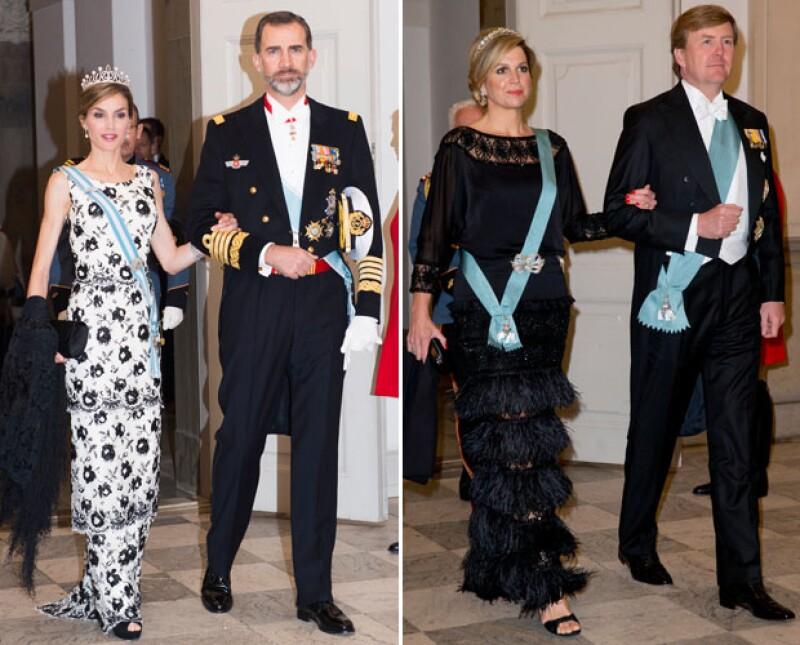 Miembros de diferentes casas reales asistieron a la cena de gala en honor de la reina.