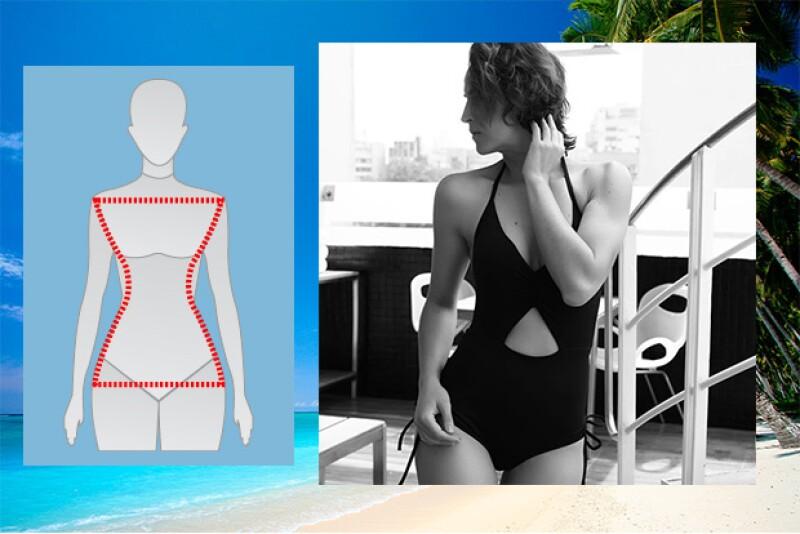 Para este tipo de cuerpo, el objetivo es acentuar las curvas sin caer en la vulgaridad, y puedes lograrlo con cualquier traje entero, o pantie de talle alto. Traje: Trilogía fashion.