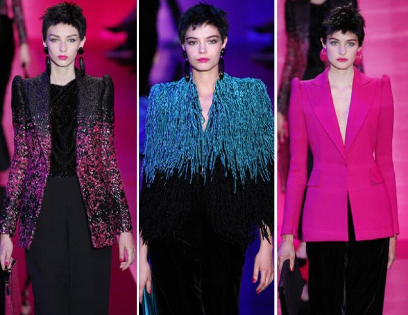 El italiano le inyectó elementos de la época de las hombreras y los aretes oversize a la colección otoño-invierno 2015 de Alta Costura.