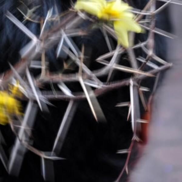 Corona de espinas y flores