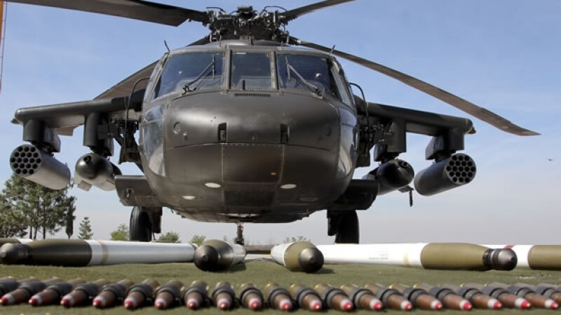 Un helicóptero 'Black Hawk' perteneciente al gobierno mexicano que fue recibido como parte de la Iniciativa Mérida
