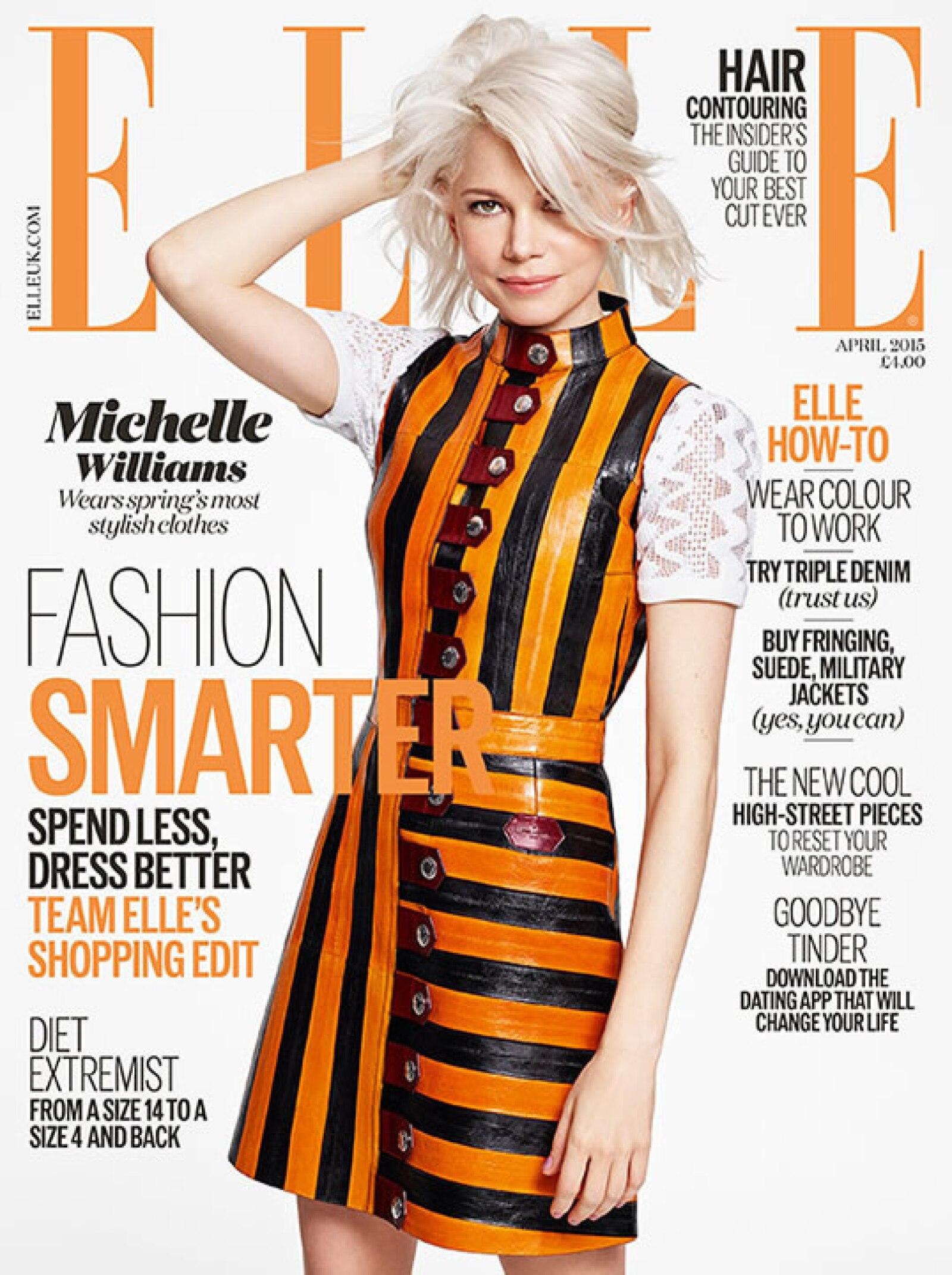 La actriz Michelle Williams es la portada de ELLE UK, usando un vestido de rayas naranjas y negras de Louis Vuitton, y fotografiada por Kerry Hallihan.