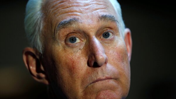 FILE PHOTO: U.S. political consultant Roger Stone speaks after a closed door hearing on Russian election interference in Washington