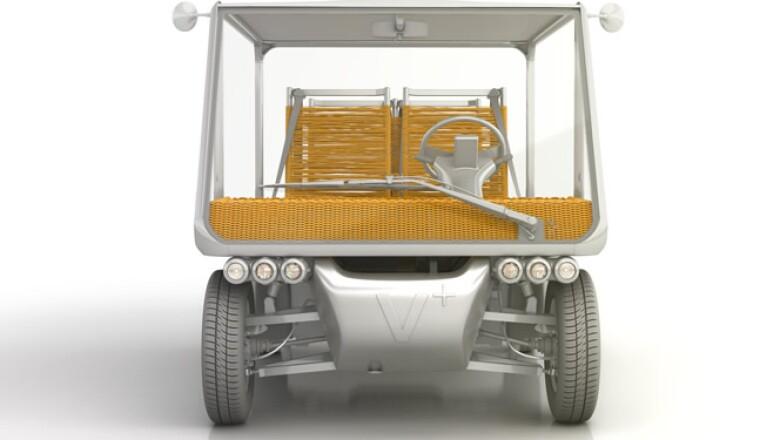 Formado básicamente de aluminio, recorre hasta 59 km a una velocidad de 48 km/h; la carga completa de su batería es de seis horas.