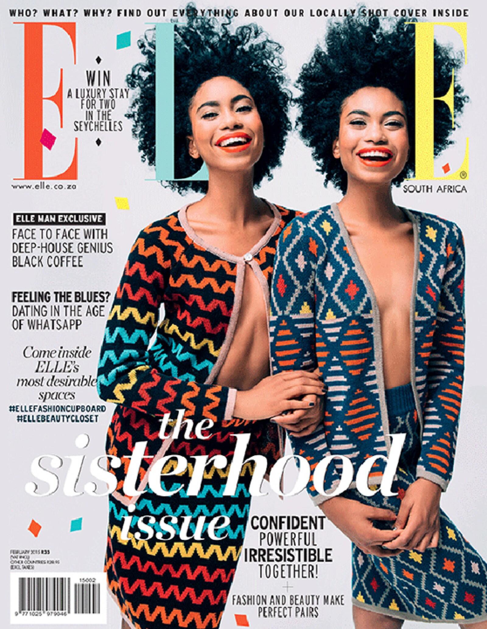 Las gemelas Suzana y Suzane Massena son la portada de ELLE Sud África.