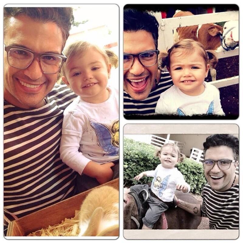El actor compartió en Twitter una imagen de su visita padre e hija, a una granja ubicada al norte de la ciudad de México, en la que la pequeña convivió con tiernos conejos y hasta un poni.