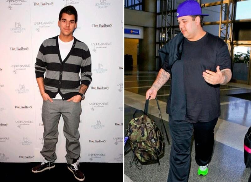 Rob descuidó su figura desde 2012, tras terminar su noviazgo con Rita Ora. La imagen de la izquierda corresponde a 2011 y la de la derecha es actual.