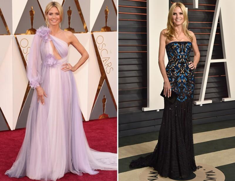 Heidi Klum se cambió de un vestido de Marchesa a Atelier Versace y triunfó.