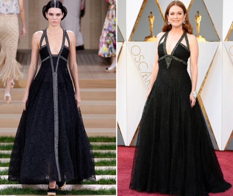 La actriz, que es conocida por su impecable estilo, optó por usar para los Oscar 2016 el mismo diseño que la menor de las Kardashian modeló en la reciente pasarela de Chanel. ¿A quién se le ve mejor?