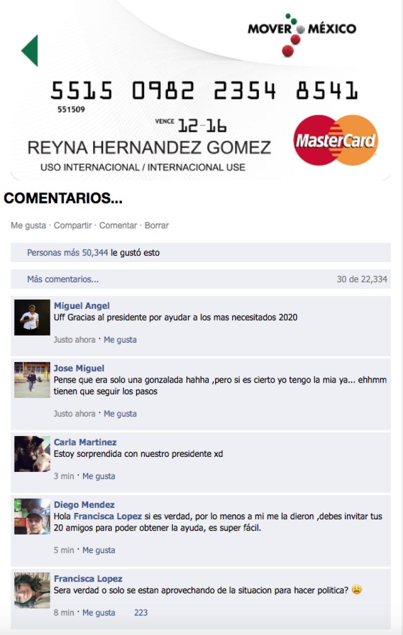 """La tarjeta incluye el lema del gobierno del ex presidente Enrique Pena Nieto, """"Mover a México"""". Foto: Internet"""