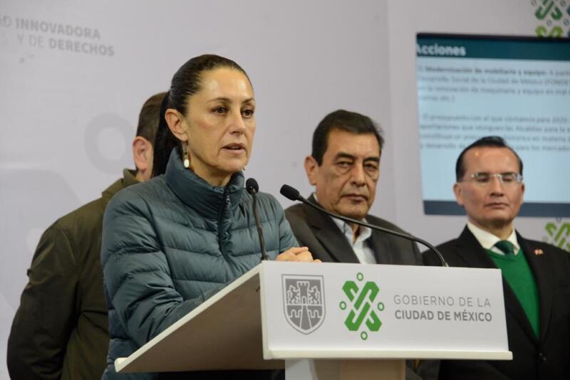 La jefa de Gobierno, Claudia Sheinbaum, anunció la revisión de las instalaciones eléctricas en los 329 mercados de la CDMX. Foto: Gobierno CDMX