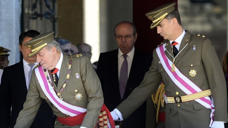 El Rey Juan Carlos con su hijo el Príncipe de Asturias