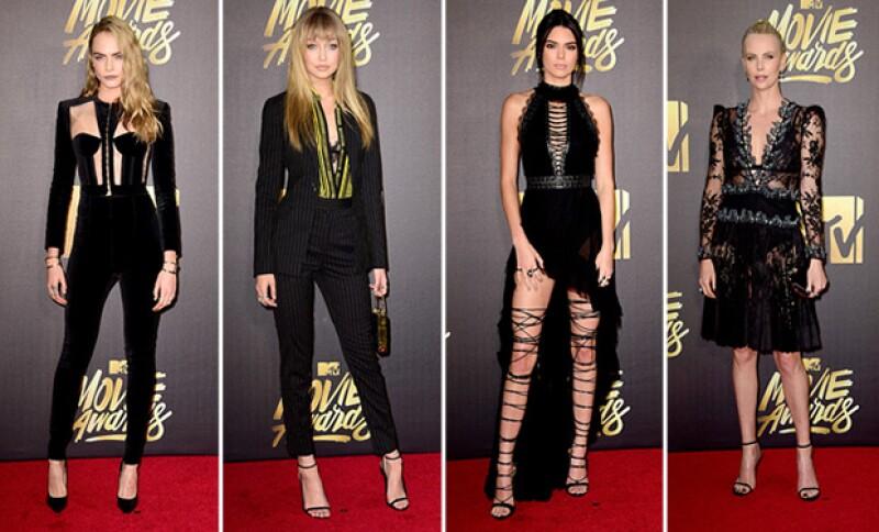 Kendall Jenner, Gigig Hadid, Cara Delevingne y Charlize Theron se encargaron de encender la red carpet de los premios con looks en total black.
