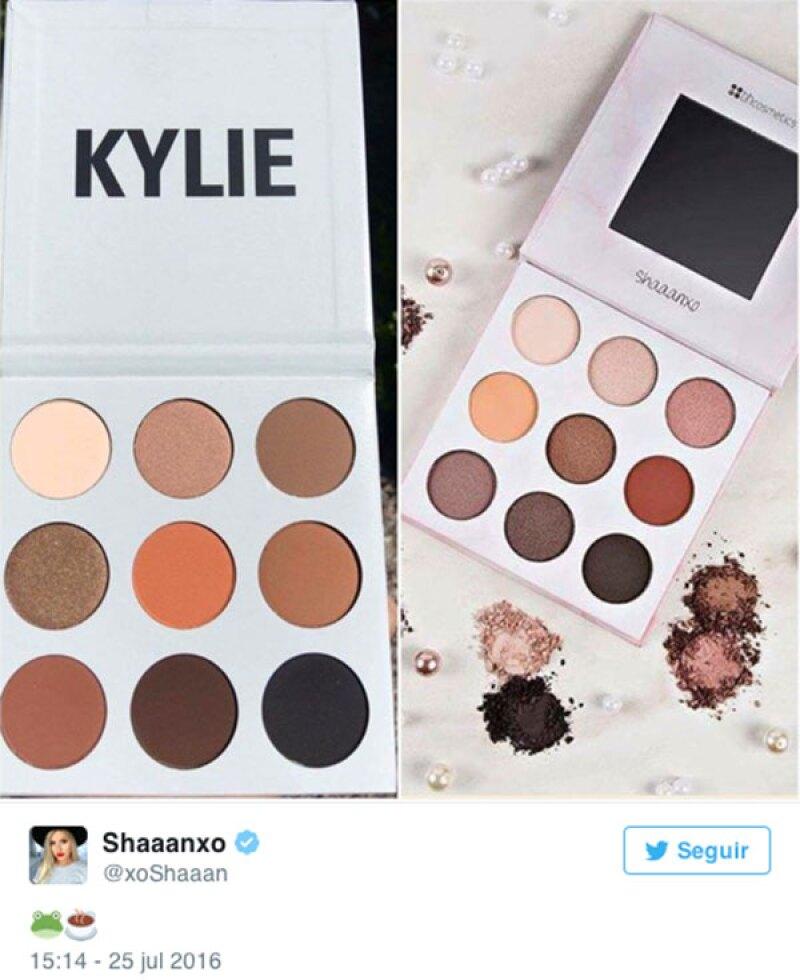 La paleta de Kylie y la de la blogger Shaaanxo muestran mucho parecido en tonos.