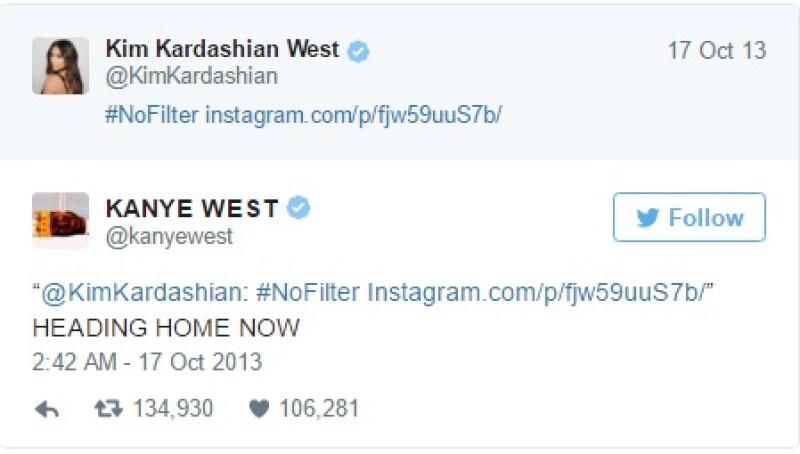 Esto fue lo que Kanye respondió casi inmediatamente del post de su esposa.