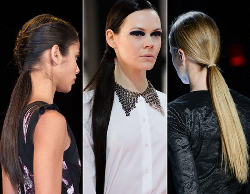 Hervé Leger, Christian Dior y Nicole Miller proponen las low ponytails para el otoño.