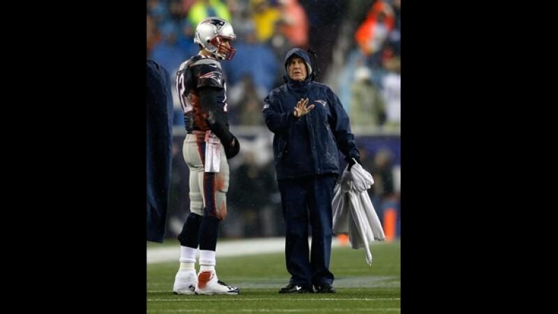 Bill Belichick y Tom Brady de los Patriotas de Nueva Inglaterra