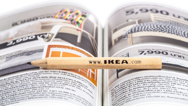 Ikea catalog and pencil
