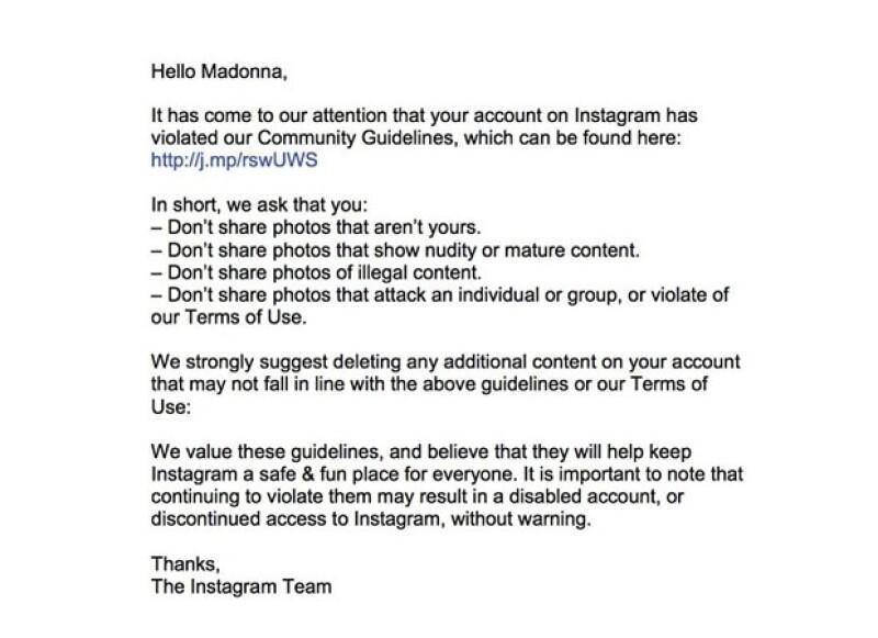 Comunicado de la administración de Instagram que fue posteado en la cuenta de Madonna ayer.