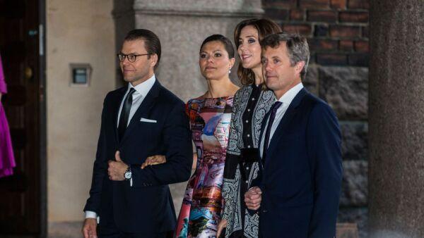 Mary y Federico de Dinamarca y Victoria y Daniel de Suecia
