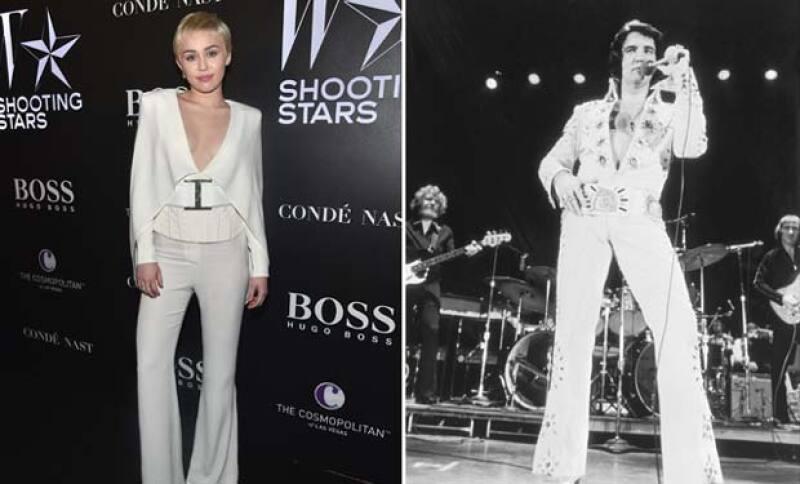 Como una manera de honrar a la ya fallecida celebridad, Miley decidió vestir un outfit característico en la exhibición de la W Magazine Shooting Stars en Los Ángeles.