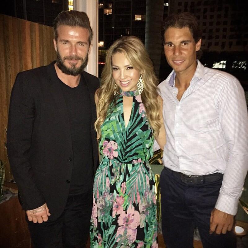 La cantante, el futbolista y el tenista coincidieron en la celebración de cumpleaños del diseñador de modas en un restaurante de la ciudad.