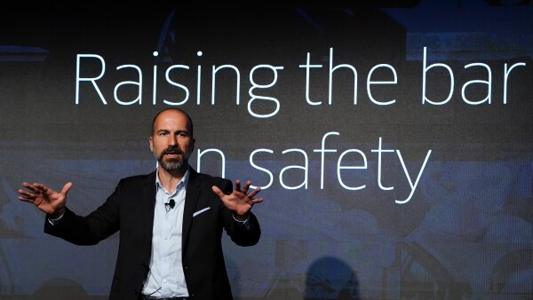 The CEO of ride-sharing app Uber Dara Khosrowshahi pictured on stage during an event in New York