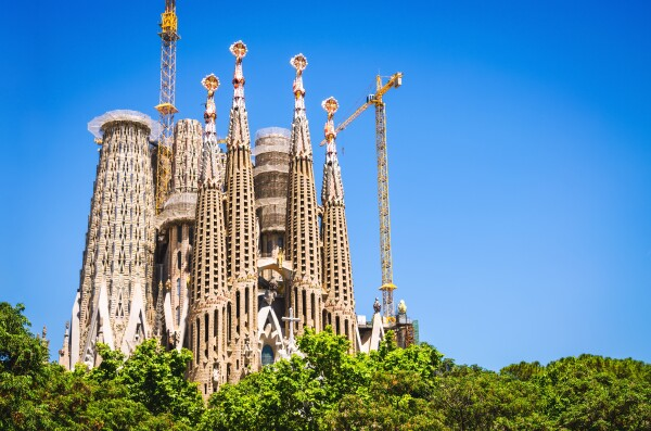 Sagrada Familia basilica under construction in Barcelona city, Spain
