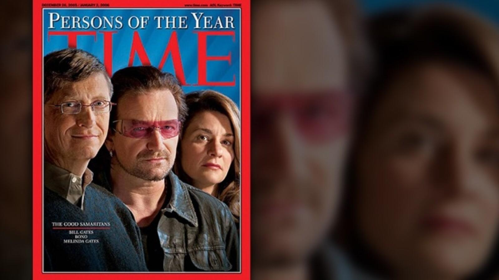 Bono Melinda y Bill Gates portada revista TIME