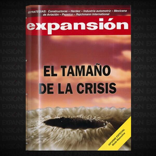 """El año perdido para la economía. La revista publicaba: """"En este número Expansión se lanza a comprender la magnitud del retroceso que vive hoy México, partiendo desde el panorama macroeconómico y sus perspectivas de recesión""""."""