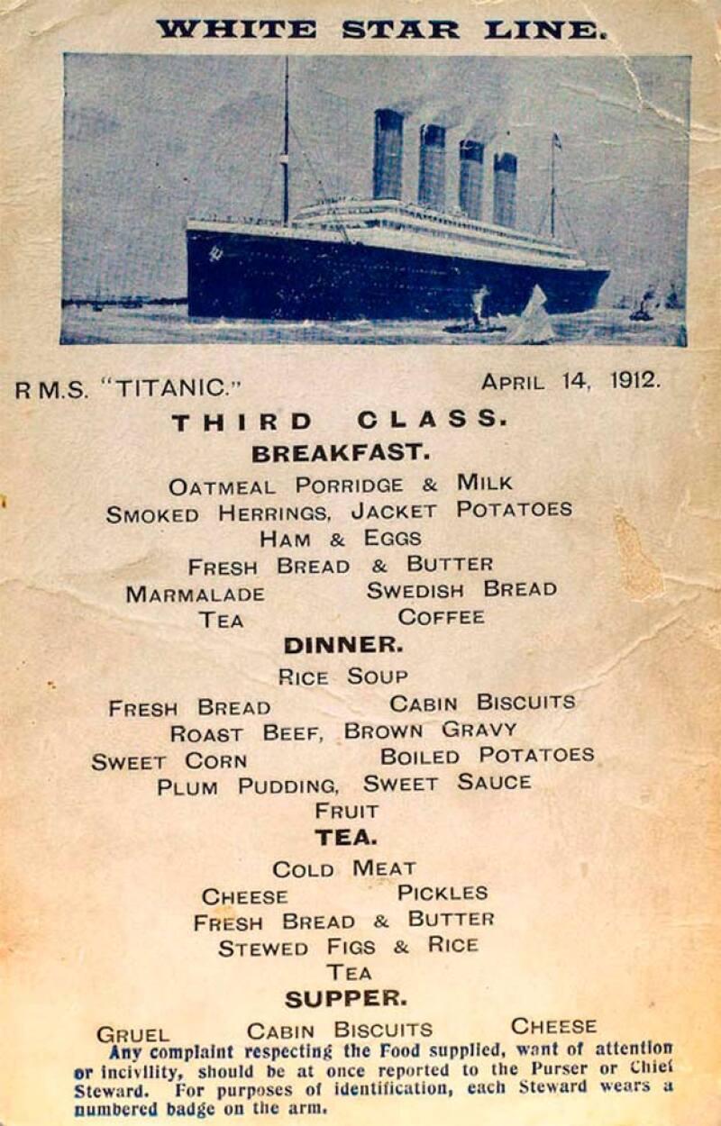 El menú de la tercera clase con una variedad de platillos bastante limitada.