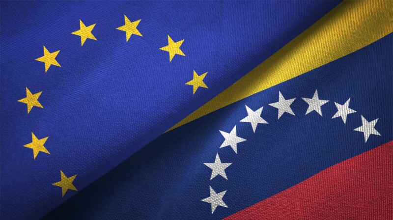 Venezuela and European Union two flags together realations textile cloth fabric texture