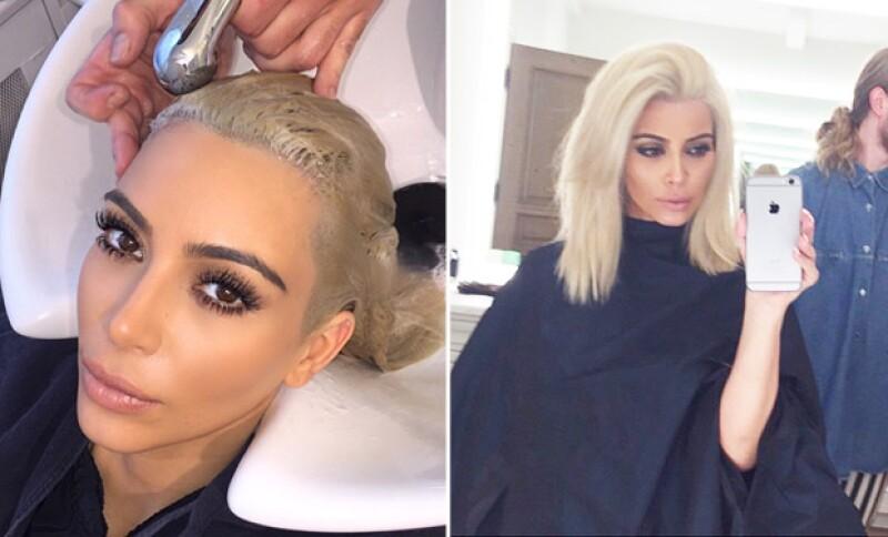 Kim mantuvo al tanto a sus fans de su cambio de imagen.
