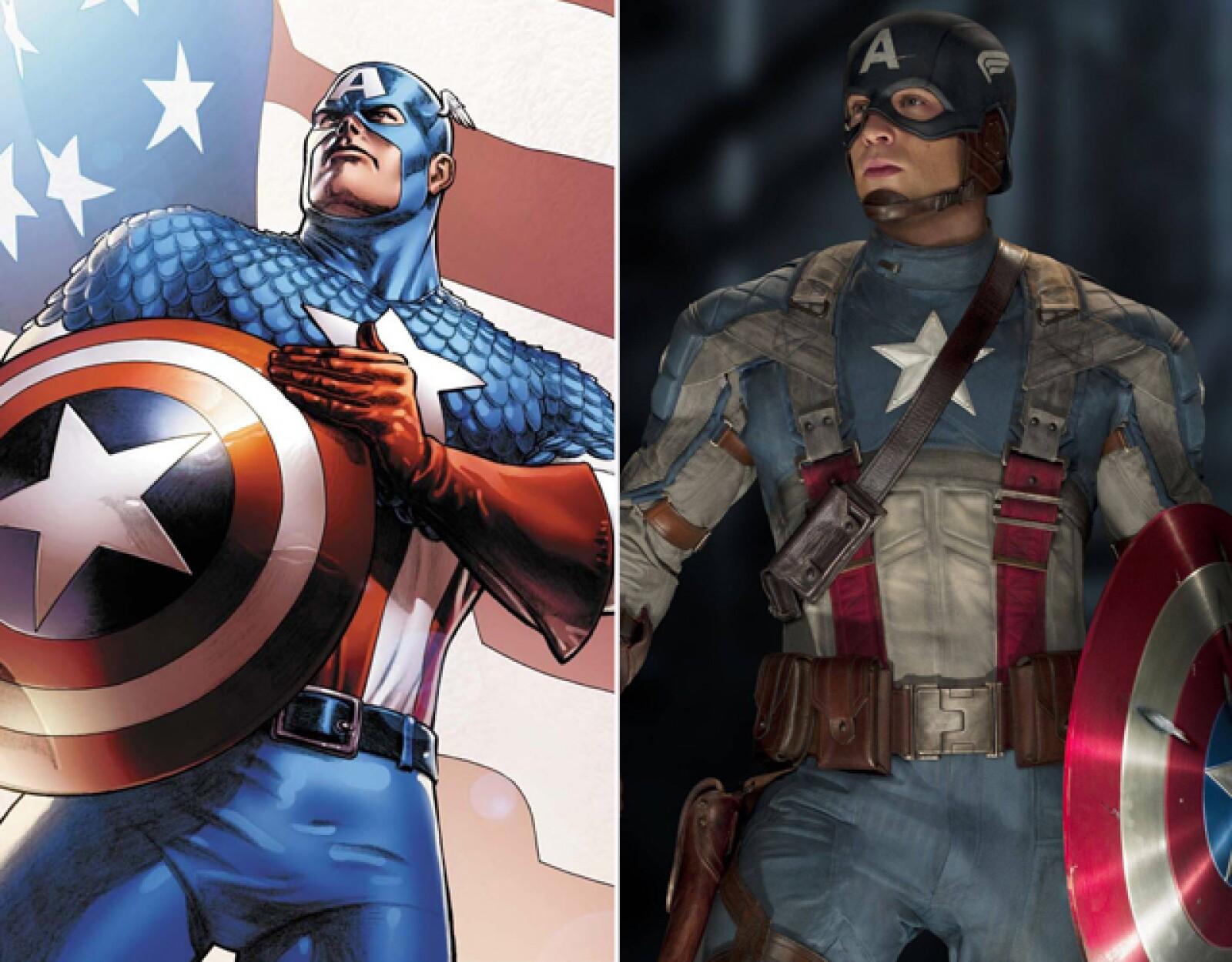 Chris Evans dio vida al patriota y musculoso Capitán América.